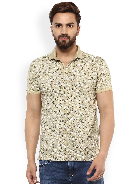 acb36a86 Buy Mufti Men Khaki Printed Polo Collar T Shirt - Tshirts for Men ...