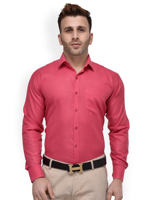 b114496ecb6 Buy Hangup Men Pink Regular Fit Solid Formal Shirt - Shirts for Men ...
