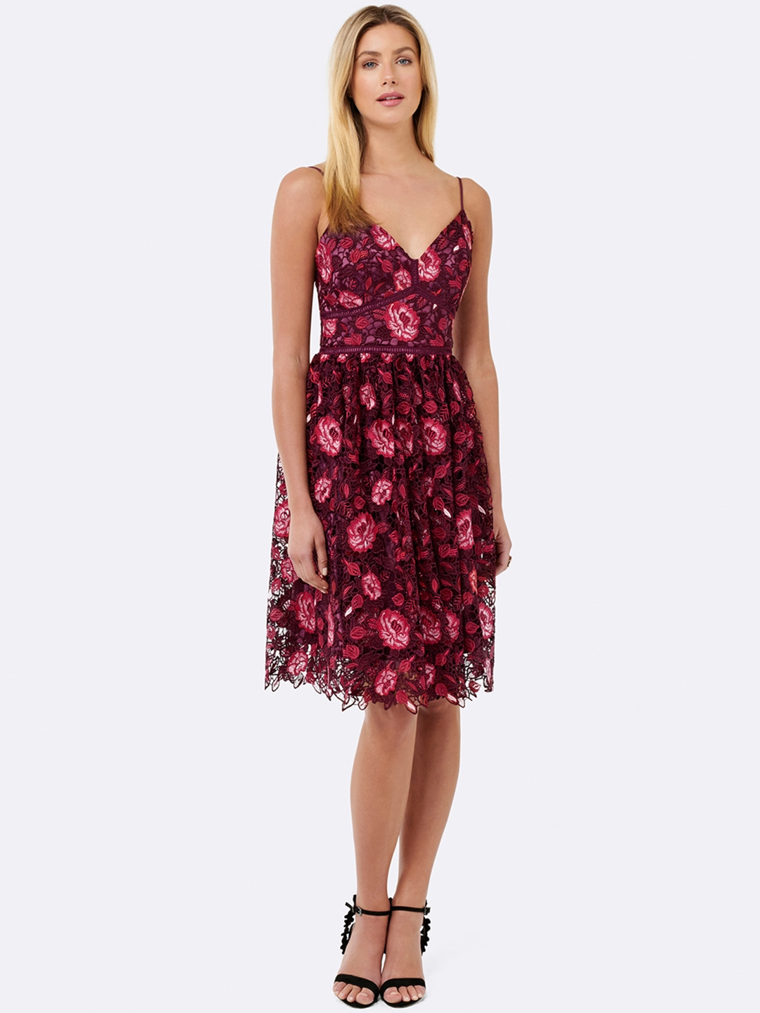 618b60ca65e Buy Forever New Women Red Floral Printed Fit And Flare Dress ...
