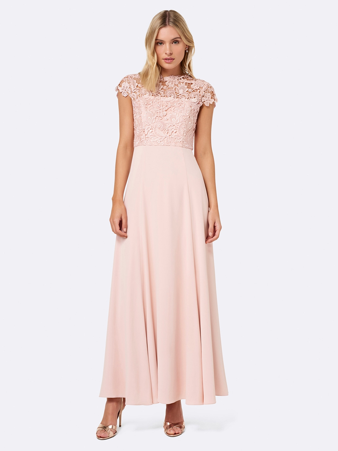 b3a9154a9 Buy Forever New Women Pink Solid Maxi Dress - Dresses for Women ...