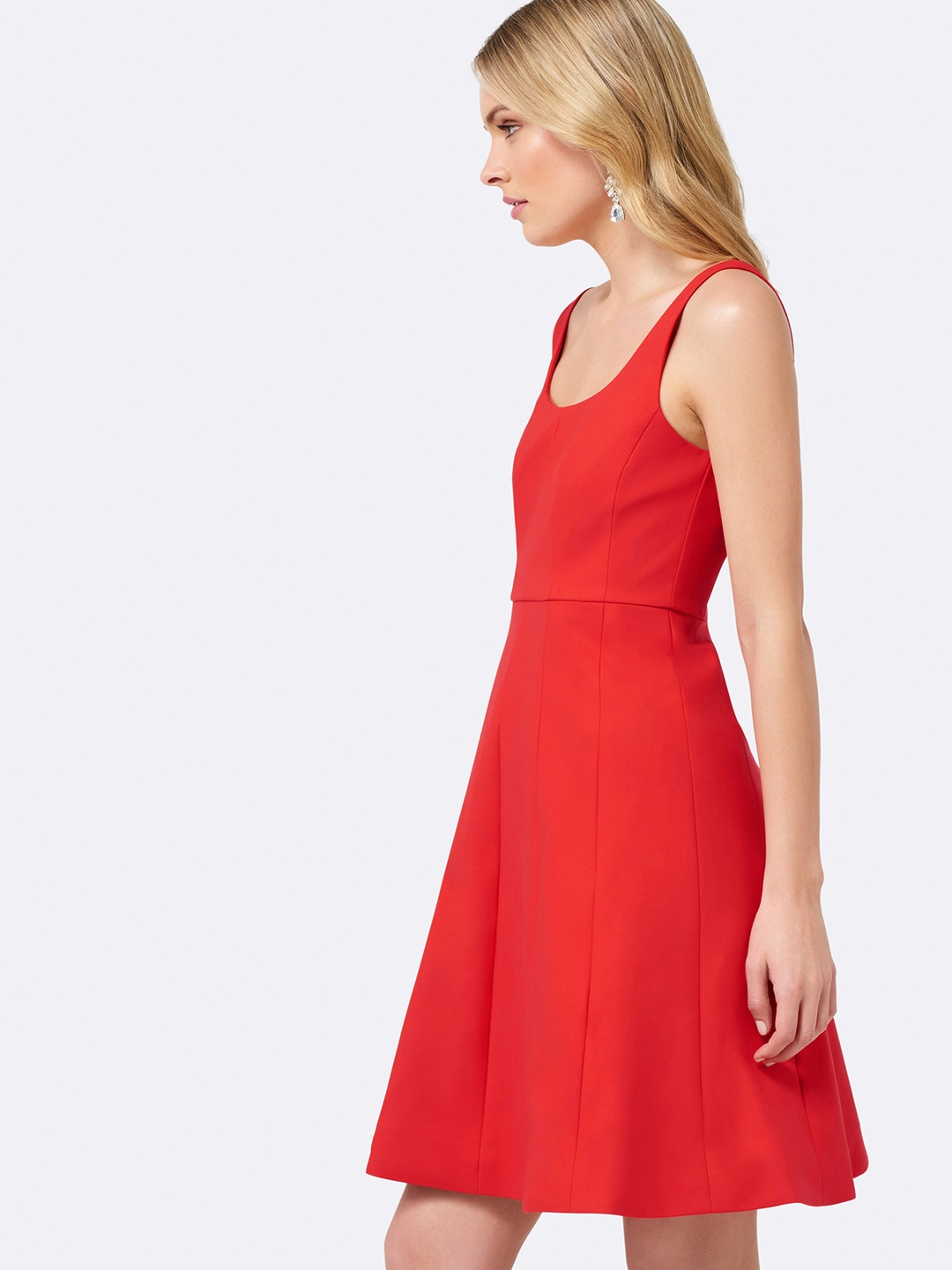 9d11624e233 Buy Forever New Women Red Solid Fit And Flare Dress - Dresses for ...