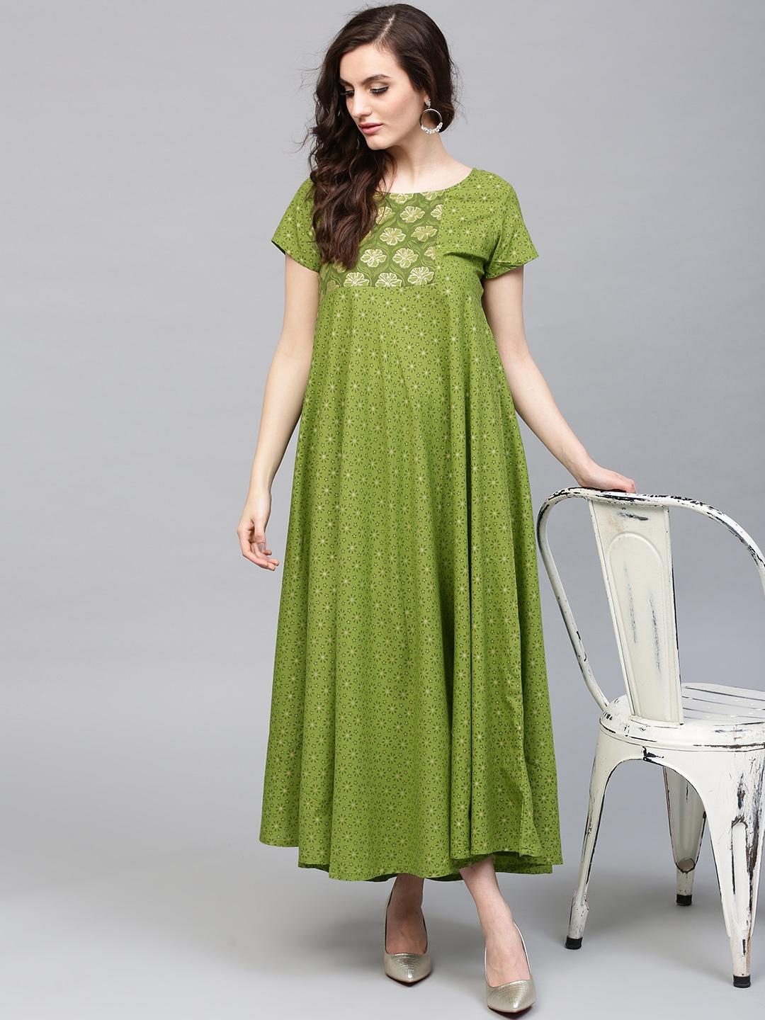 039d6083c Buy AKS Women Green Printed Maxi Dress With Gathers - Dresses for ...