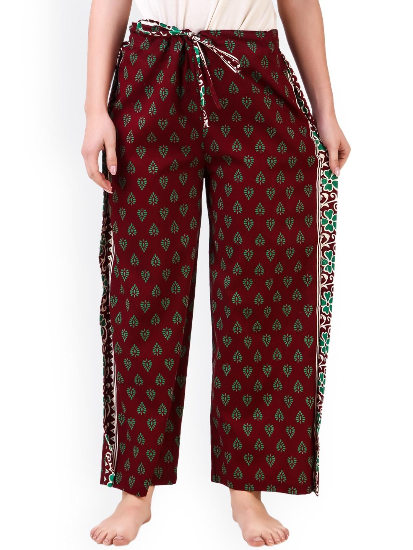 35eafe30a3ec Buy Masha Women Maroon Cotton Printed Pyjama - Lounge Pants for ...