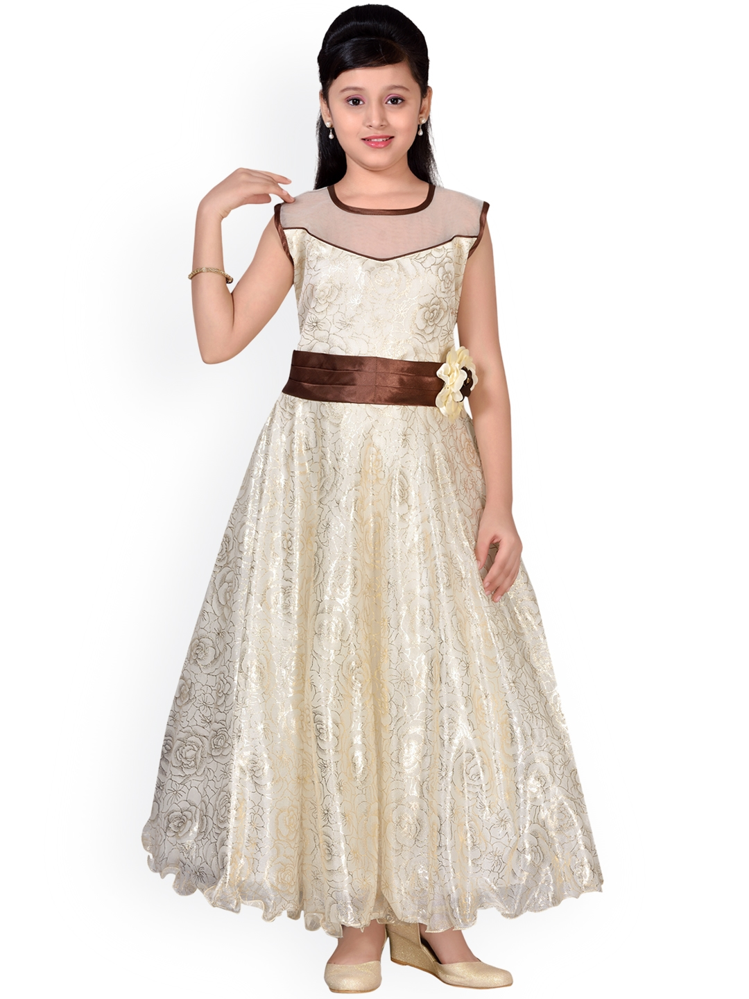 8529b2a7860 Buy Adiva Girls Cream Coloured Printed Maxi Dress - Dresses for ...