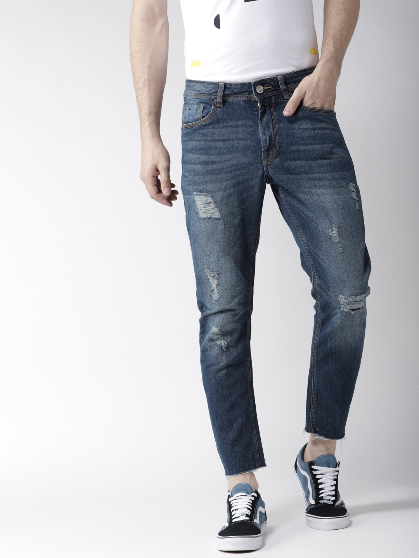 f34e5f0e68d Mast   Harbour Men Blue Slim Fit Mid-Rise Low Distress Stretchable Jeans