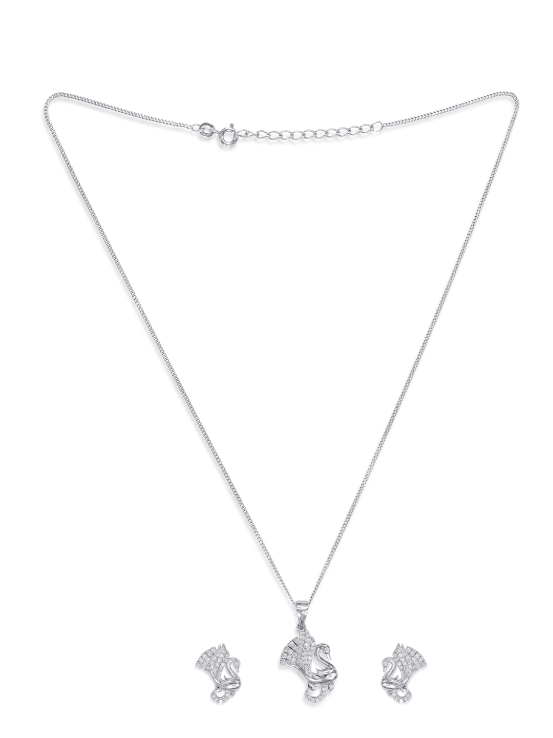 195fdcdc35a4 Buy Taraash Sterling Silver CZ Swan Pendant Set - Jewellery Set for ...