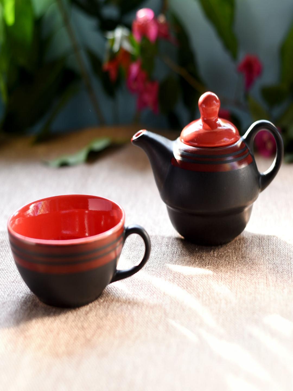 Unravel India Black Printed Ceramic Kettle Set