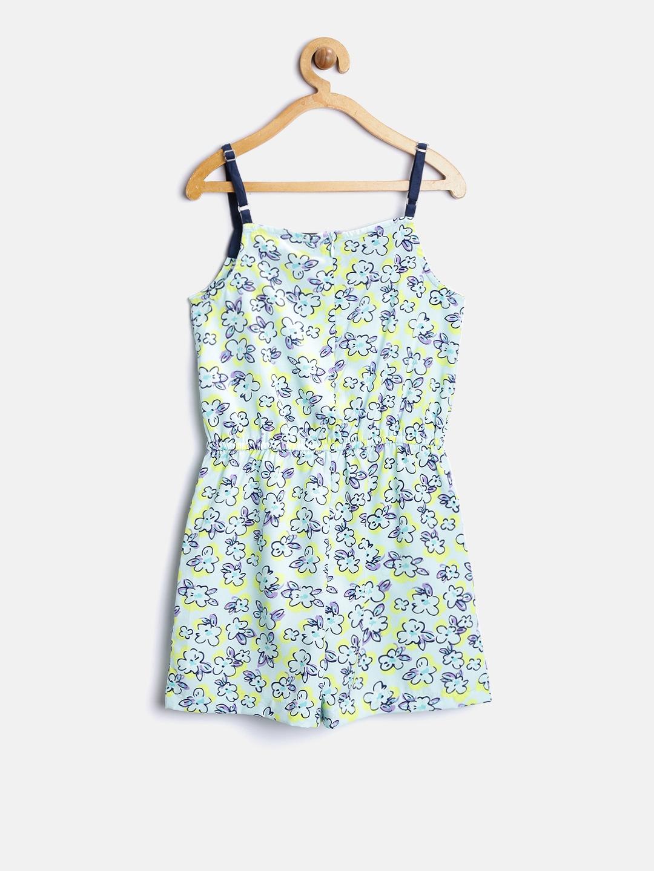b3888057af5 Buy Nauti Nati Girls Green   Yellow Floral Print Playsuit - Jumpsuit ...