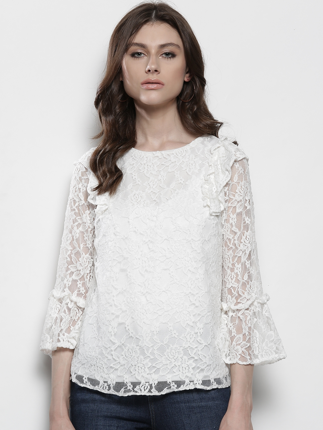 2ff2397313b1cb Buy DOROTHY PERKINS Women White Lace Top - Tops for Women 2386539 ...