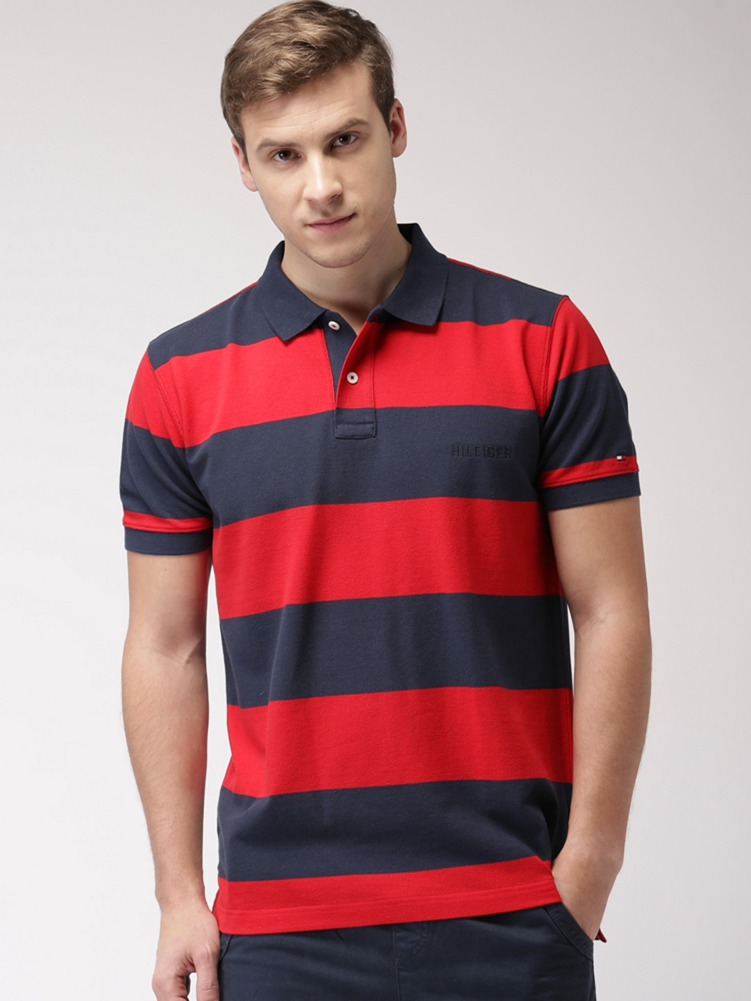 ad9b1513cf Buy Tommy Hilfiger Men Red Striped Polo Collar T Shirt - Tshirts for ...