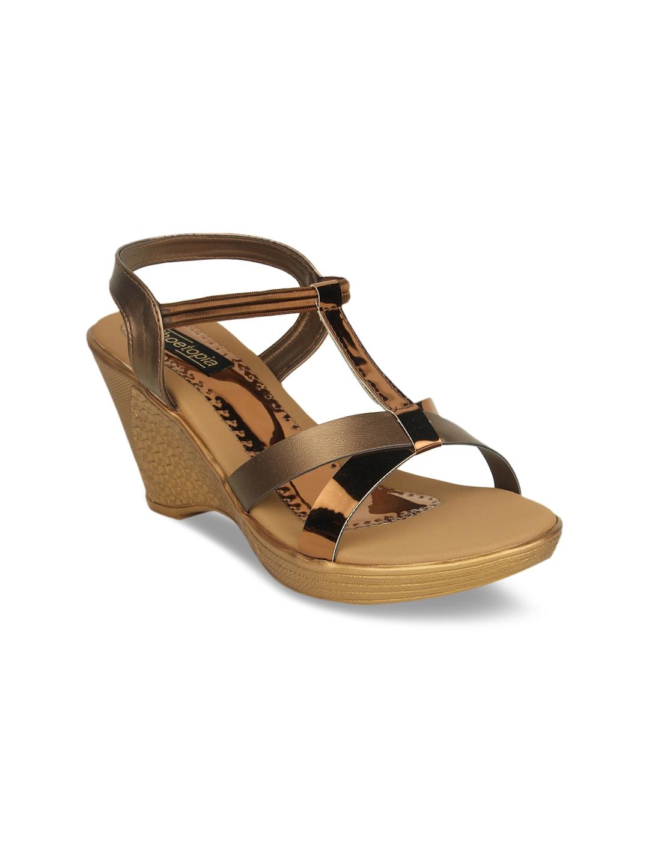 Shoetopia Women Copper Toned Solid Wedges