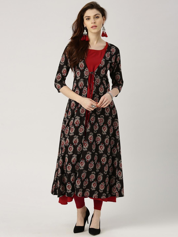 b036fe0cf5 Libas Women Maroon Solid A-Line Kurta with Printed Longline Ethnic Jacket