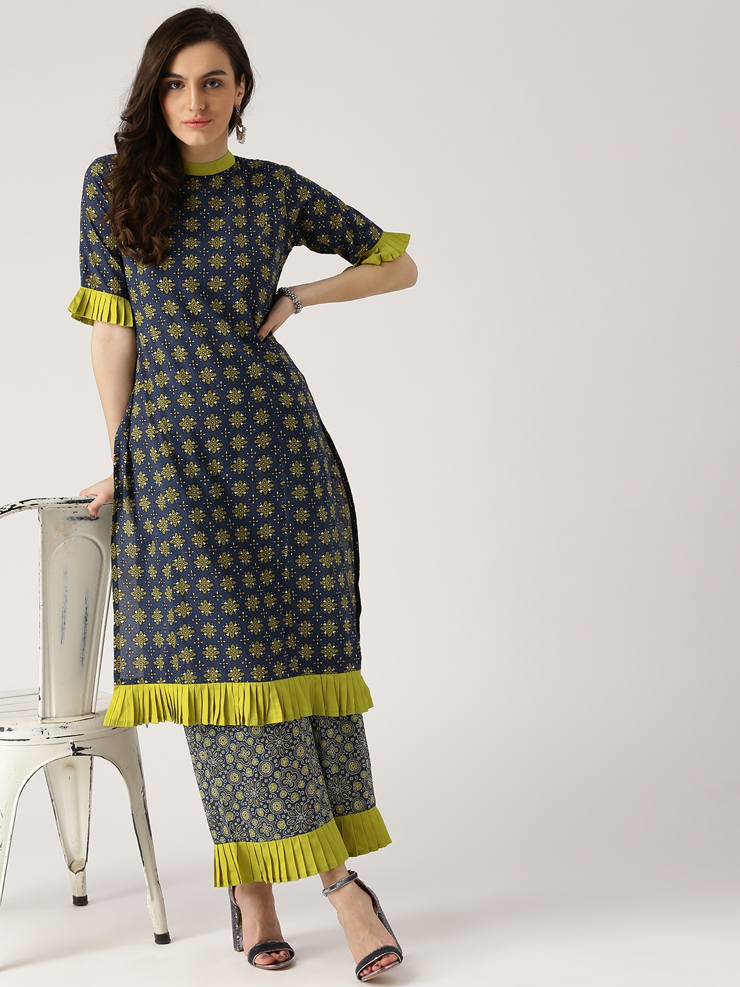 a1cea90767 Buy Libas Women Navy Blue & Lime Green Printed Kurta With Palazzos ...