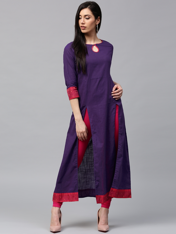 Jaipur Kurti Women Purple Solid A Line Kurta