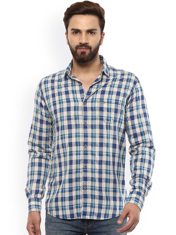 aa7c0987da8 Buy Mufti Men Blue   Beige Slim Fit Checked Casual Shirt - Shirts ...