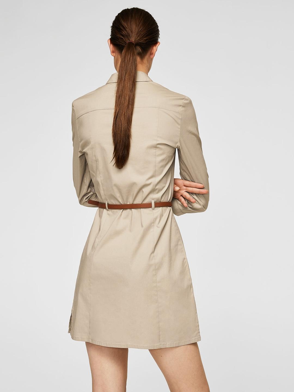 29d28fdd2f1 Buy MANGO Women Beige Solid Shirt Dress - Dresses for Women 2393680 ...