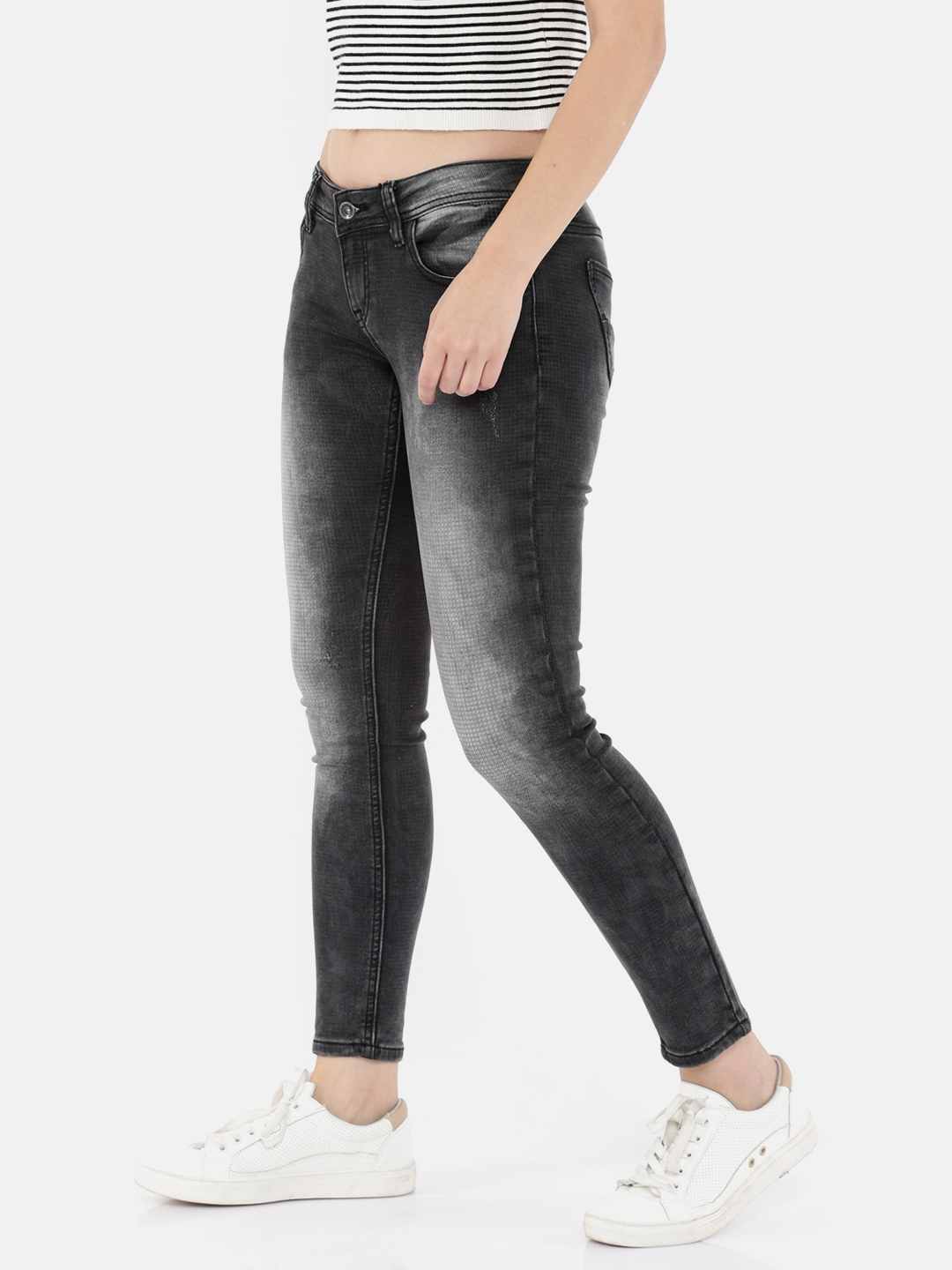 Buy Deal Jeans Women Grey Skinny Fit Mid Rise Low Distress