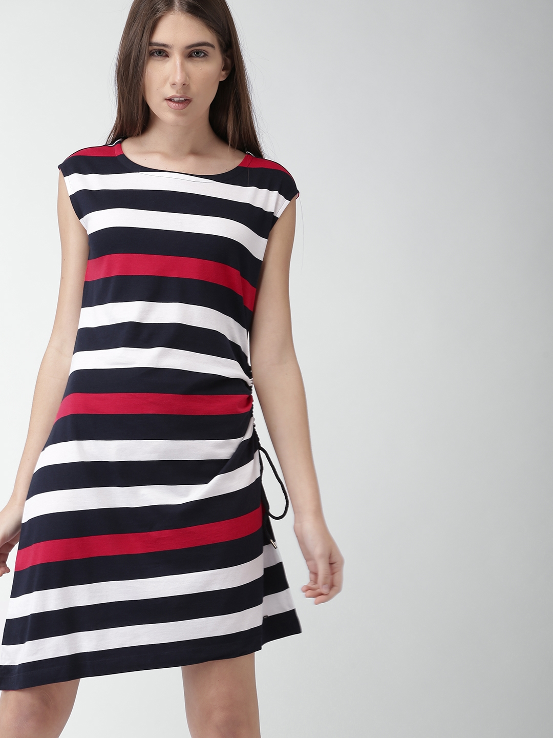 b2b0be3d Buy Tommy Hilfiger Women Navy Blue & White Striped A Line Dress ...