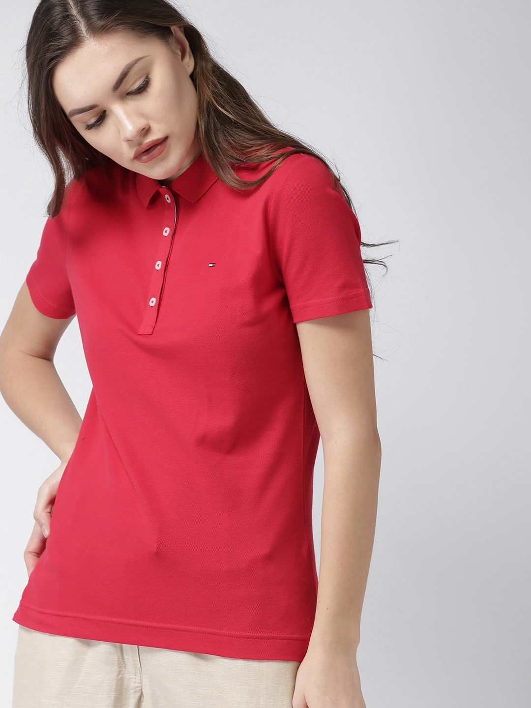 Buy Tommy Hilfiger Women Red Solid Polo Collar T Shirt - Tshirts for ... 78d32cf8ec