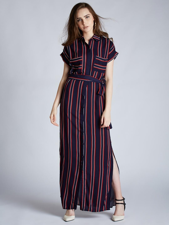 dde2fc4a28ff Buy Harpa Women Navy Blue Striped Maxi Dress - Dresses for Women ...
