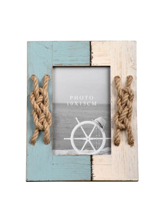 Buy OddCroft Blue & White Marina Jute Knot Photo Frame - Photo ...