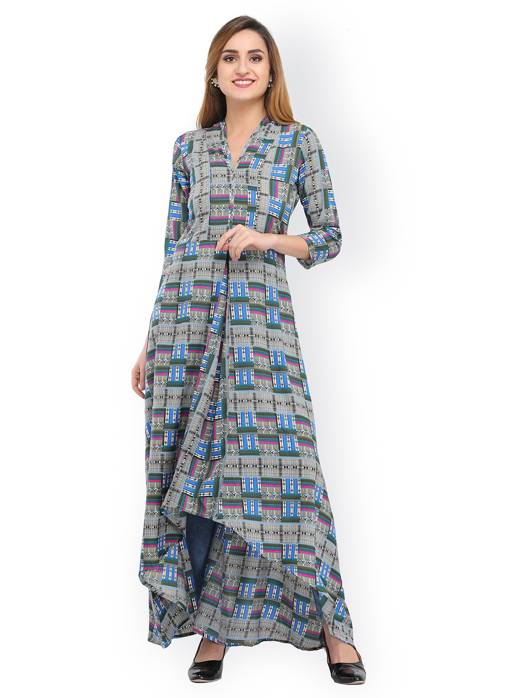 372a0aba8d3 Buy Cottinfab Women Grey Printed Maxi Dress - Dresses for Women ...