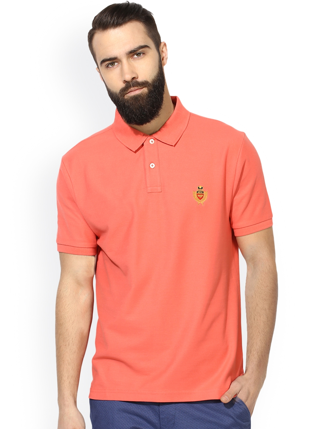 b3bb67a0cf9 Buy Red Tape Men Coral Pink Solid Polo Collar T Shirt - Tshirts for ...