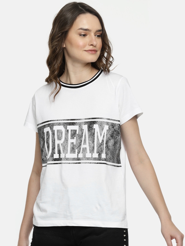 e566342e3 Buy Lee Women White Printed Round Neck T Shirt - Tshirts for Women ...