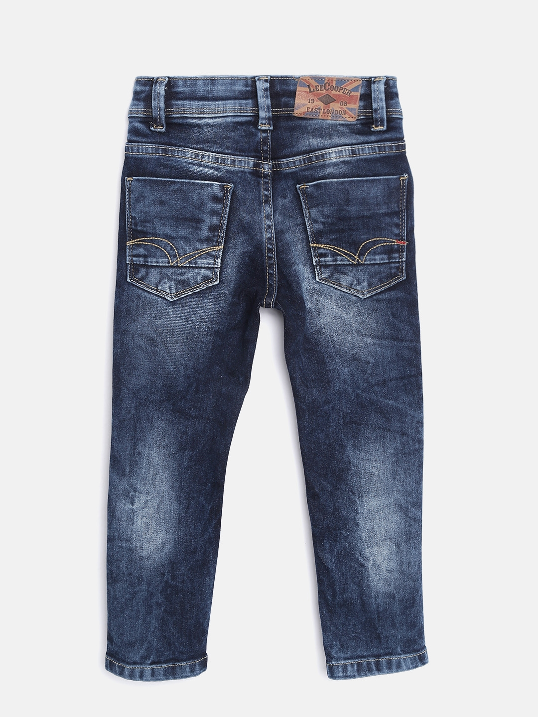 cf4461cb Lee Cooper Boys Navy Blue Slim Fit Mid-Rise Low Distress Stretchable Jeans