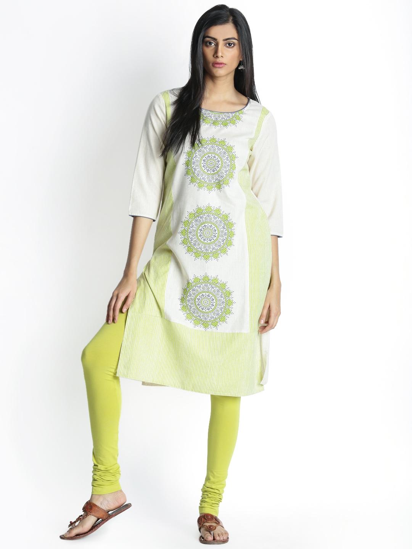 af7394982e0 Buy RANGMANCH BY PANTALOONS Women Beige   Green Printed A Line Kurta ...