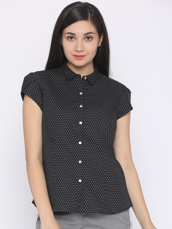 873380d4baacf Annabelle by Pantaloons Women Black Classic Regular Fit Printed Casual Shirt