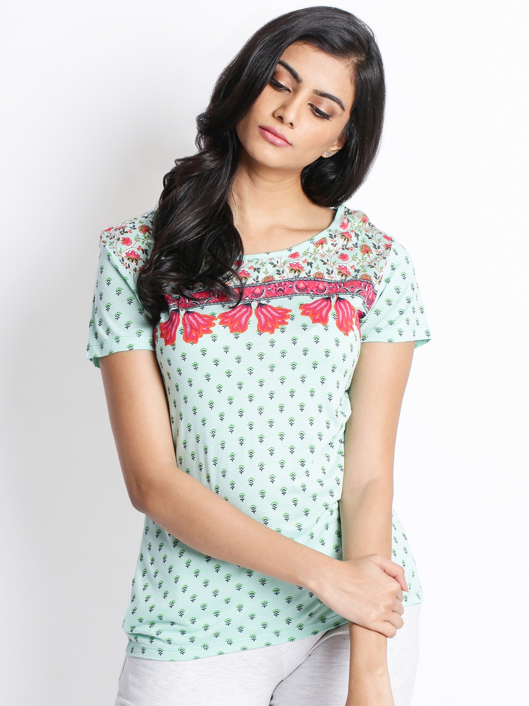 c58d98bf13b2d3 Buy Ajile By Pantaloons Women Sea Green Printed Round Neck T Shirt ...