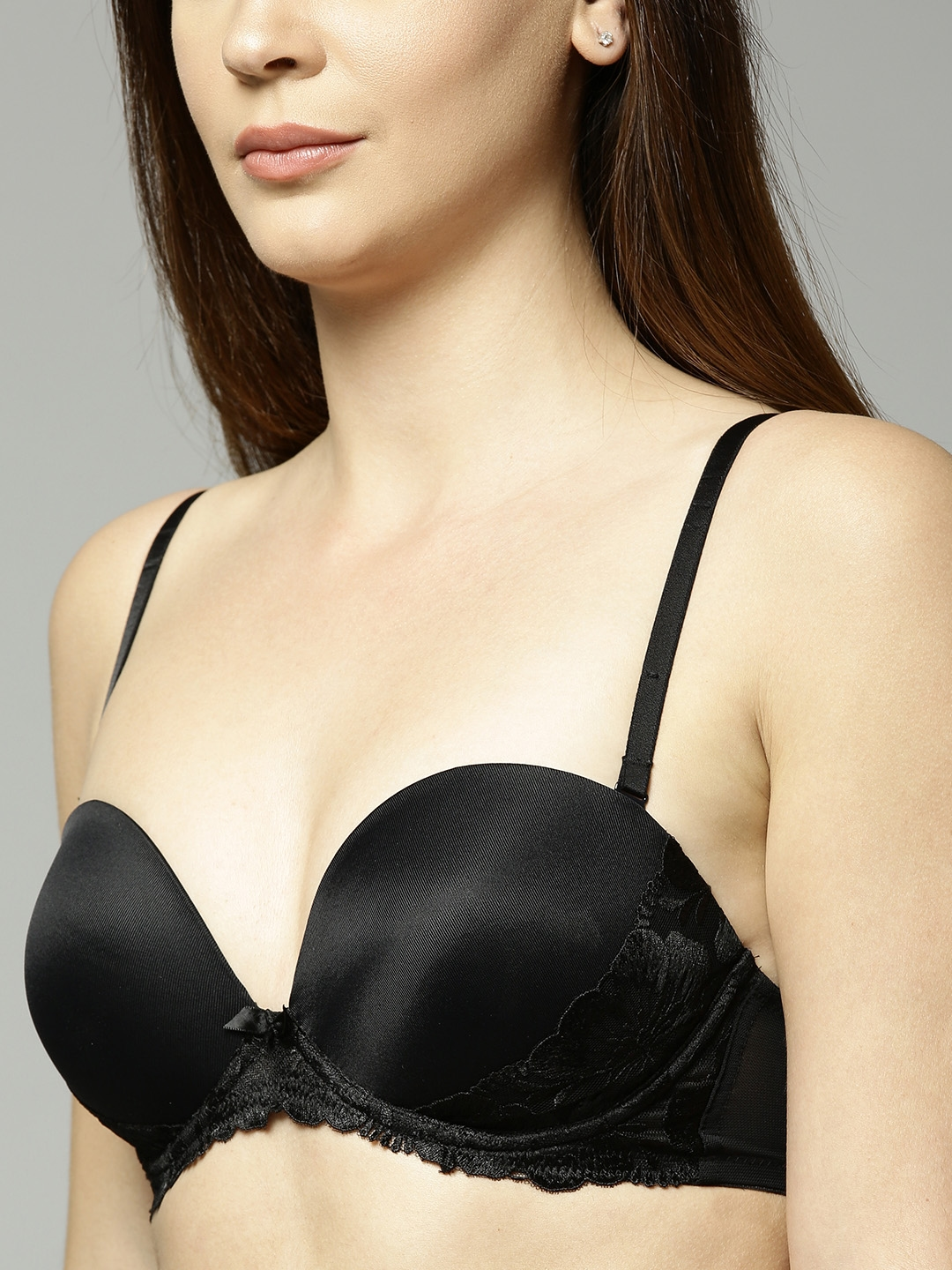 35d11247c4 Marks   Spencer Black Lace Detail Underwired Heavily Padded Push-Up Bra 2894
