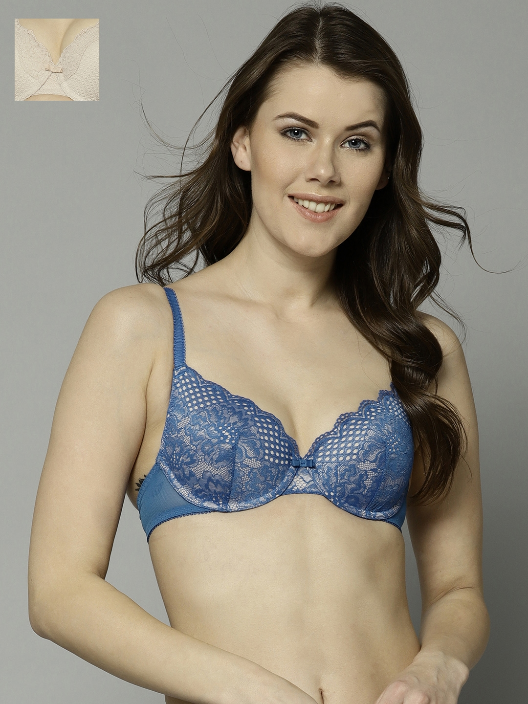 167bc5641d5 Marks   Spencer Pack of 2 Blue   Beige Lace Underwired Lightly Padded  Everyday Bras 8023F