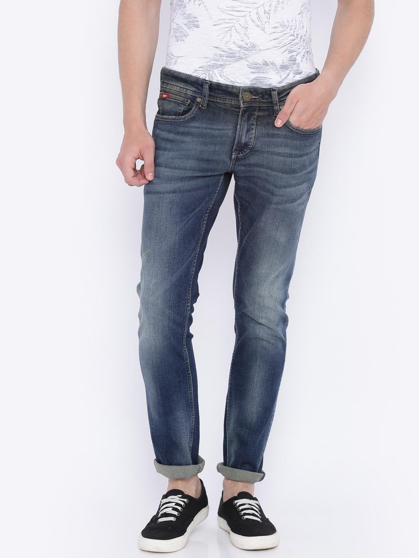 51703e67 Lee Cooper Men Blue Norris Slim Fit Low-Rise Low Distressed Stretchable  Jeans