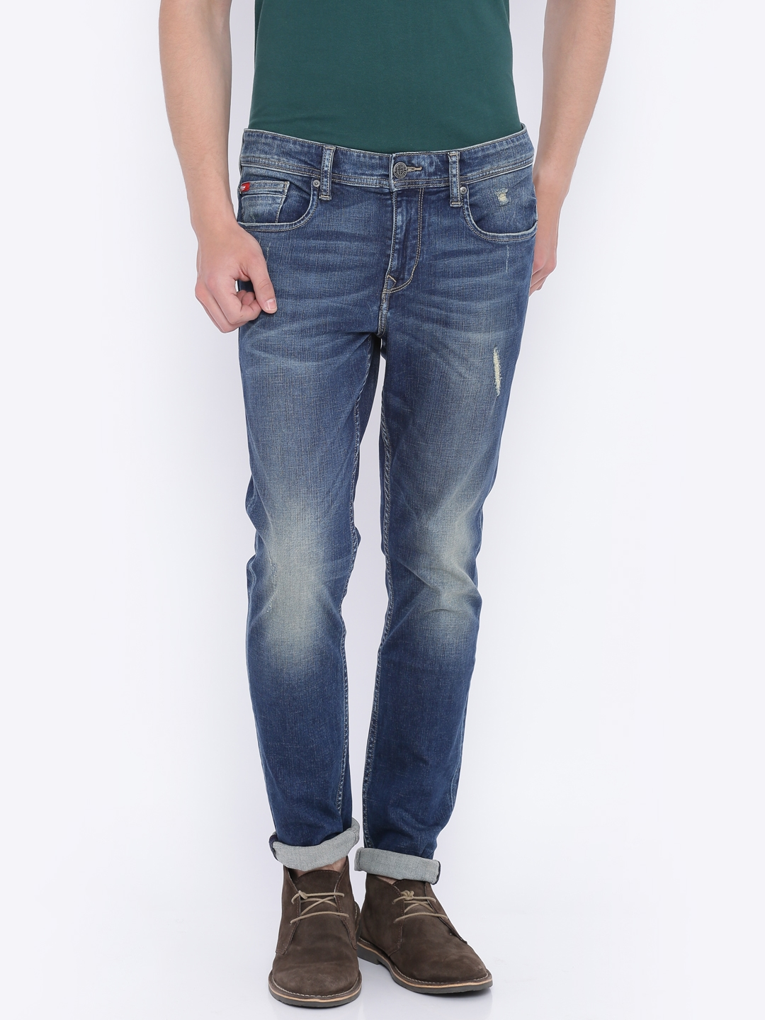 d90b3c5bfa1 Lee Cooper Men Blue Reuben Skinny Fit Low-Rise Low Distress Stretchable  Jeans