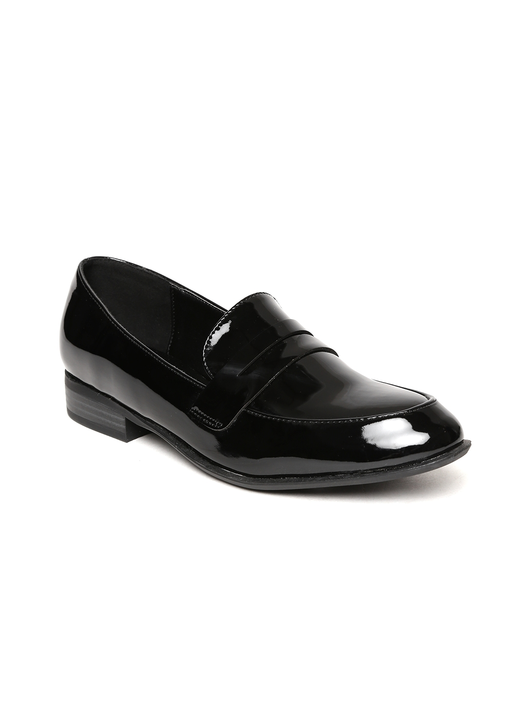 0e5245e7040 Buy Allen Solly Women Black Glossy Penny Loafers - Casual Shoes for ...