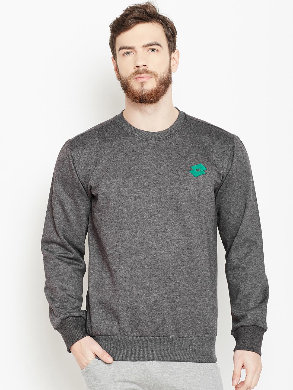 Lotto Men Charcoal Grey Solid Sweatshirt