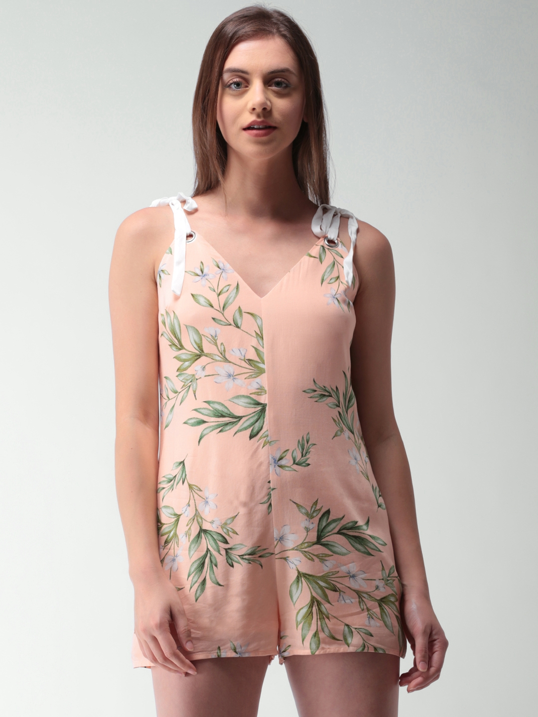 15ac46878cf Buy FOREVER 21 Peach Coloured Printed Playsuit - Jumpsuit for Women ...