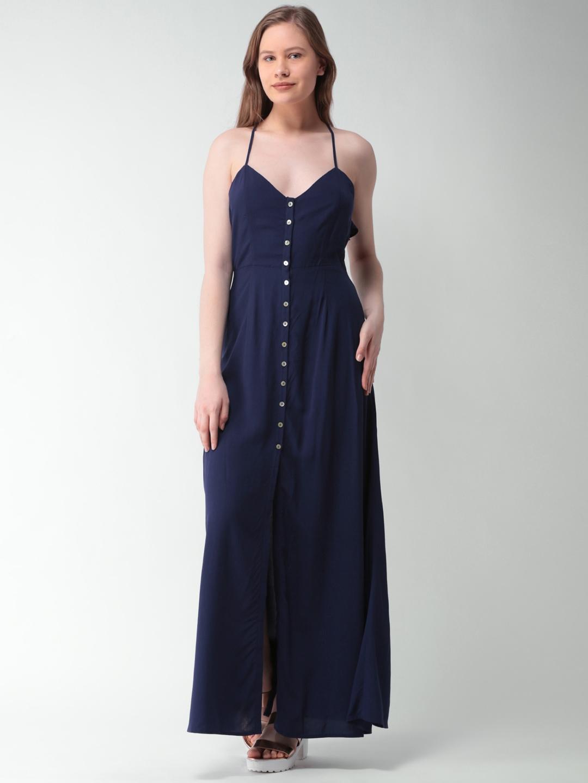 5e2139e060eb Buy FOREVER 21 Women Navy Blue Solid Maxi Dress - Dresses for Women ...