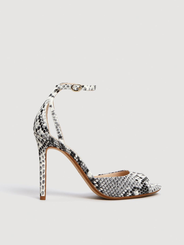 59461820235 Buy MANGO Women White   Grey Snakeskin Print Sandals - Heels for ...
