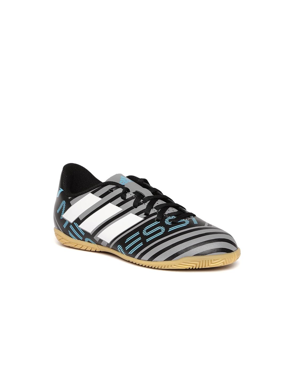 27c5f53f2edd ADIDAS Boys Grey   Black Nemeziz Messi Tango 17.4 IN J Striped Football  Shoes