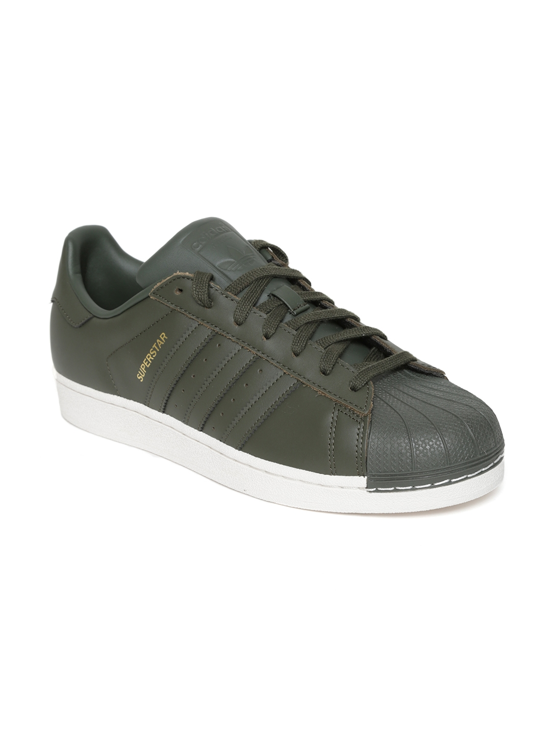 new product fc2c8 03c49 ADIDAS Originals Men Olive Green Superstar Leather Sneakers
