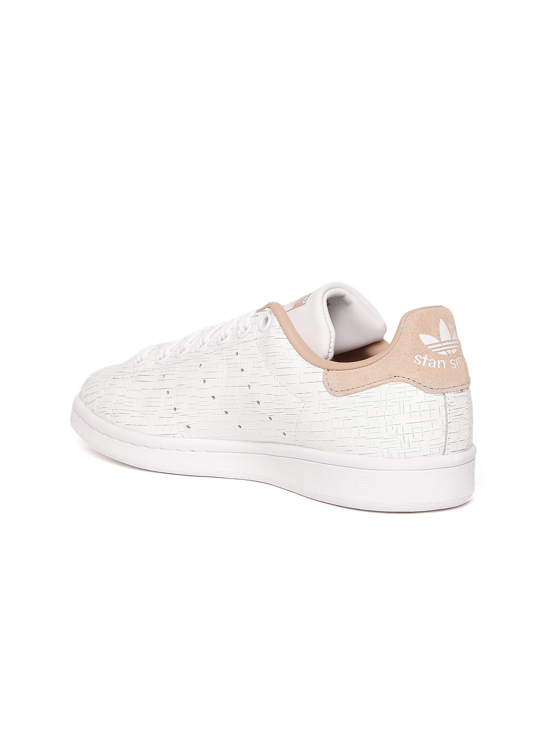 newest a946e 944ef ADIDAS Originals Women White STAN SMITH Textured Leather Sneakers