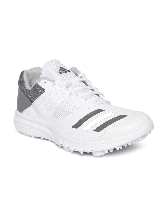 White \u0026 Grey Howzat Spike Cricket Shoes