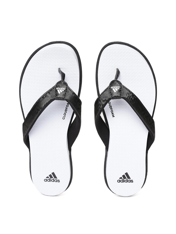 181b9bc43842 Buy ADIDAS Women Black   White CLOUDFOAM Self Design Thong Flip ...