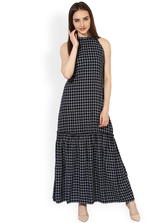 2c304c66ec4fa2 Buy Leo Sansini Women Navy Blue Checked Maxi Dress - Dresses for ...