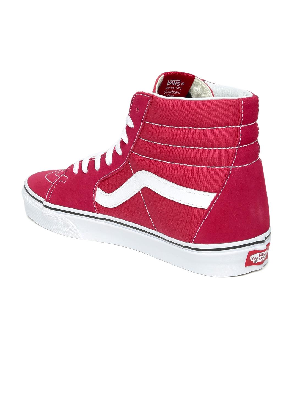 a30c1805441 Buy Vans Unisex Pink Solid Leather High Top SK8 Hi Skate Shoes ...