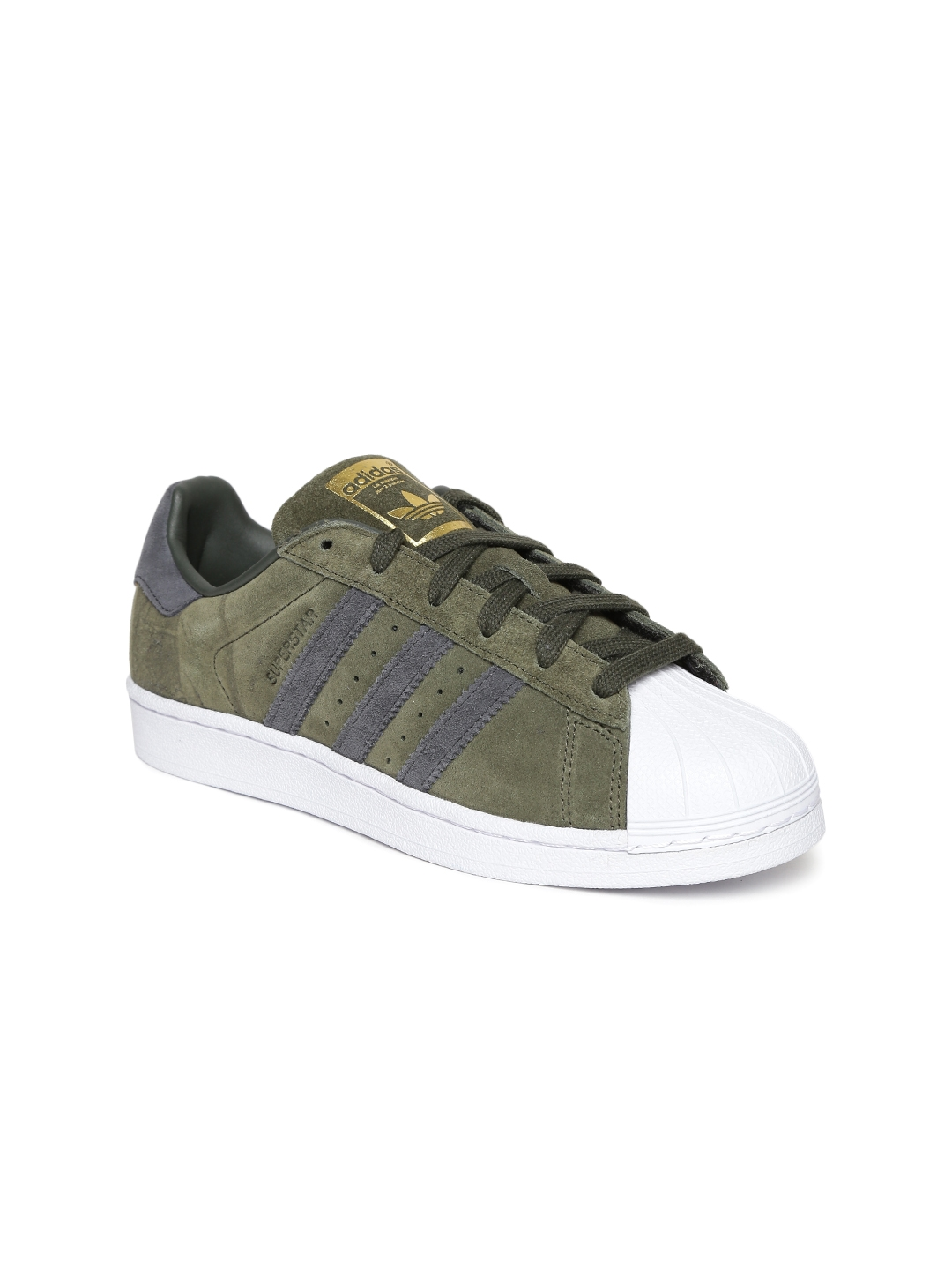 Buy ADIDAS Originals Women Olive Green Superstar Leather Sneakers ... 795c0a1575