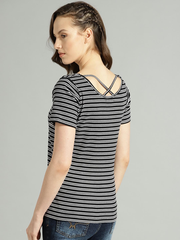 238e3c6fc1d788 Buy Roadster Women Black & White Striped Styled Back Top - Tops for ...